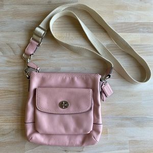 Coach Pink and White Leather Crossbody Purse